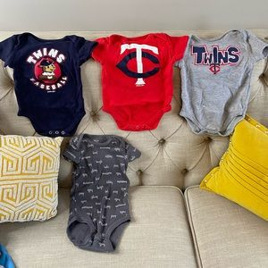 6to9 Month brand new set of twins baseball onesies